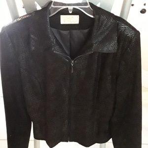 Iridescent black evening jacket.